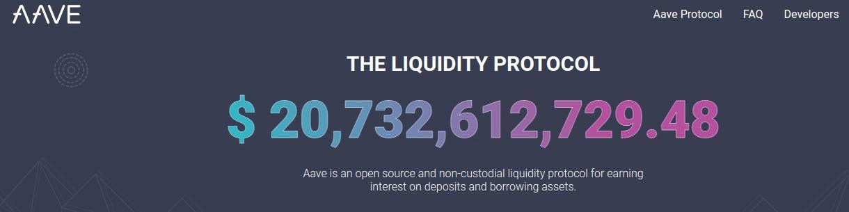 Aave protocol providing 20,732,612,729.48 USD in liquidity