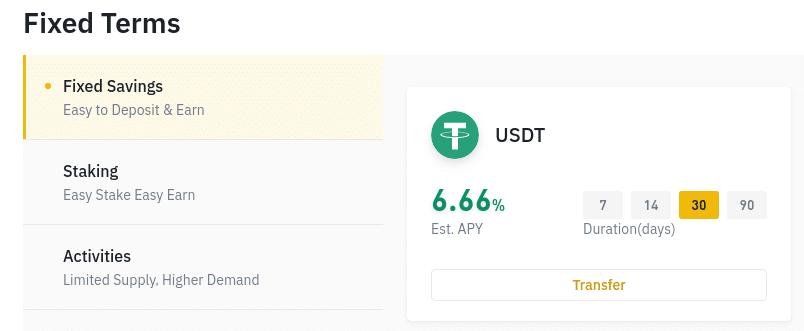 Screenshot of Binance earn fixed terms