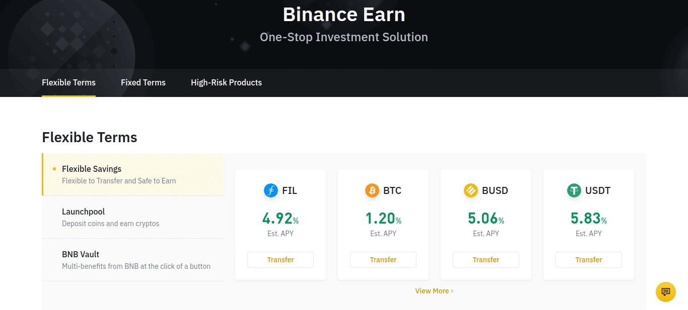 Screenshot of Binance earn flexible terms