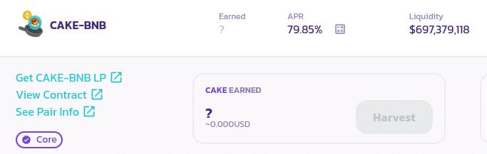 Screenshot of swapping CAKE for BNB on Binance Smart Chain