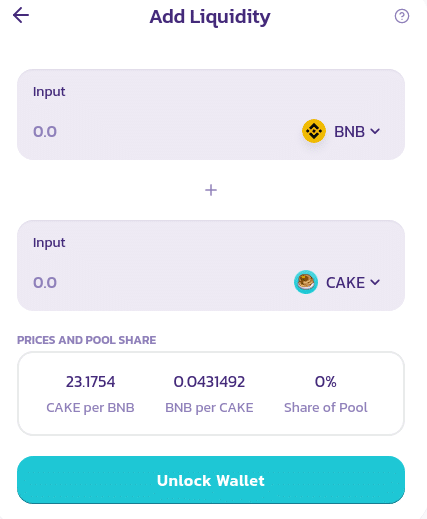Screenshot of adding liquidity to CAKE and BNB liquidity pool