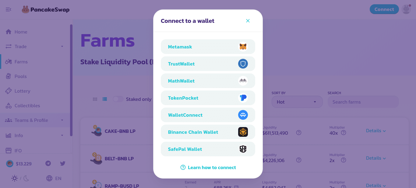 Image of how to connect to a DeFi wallet