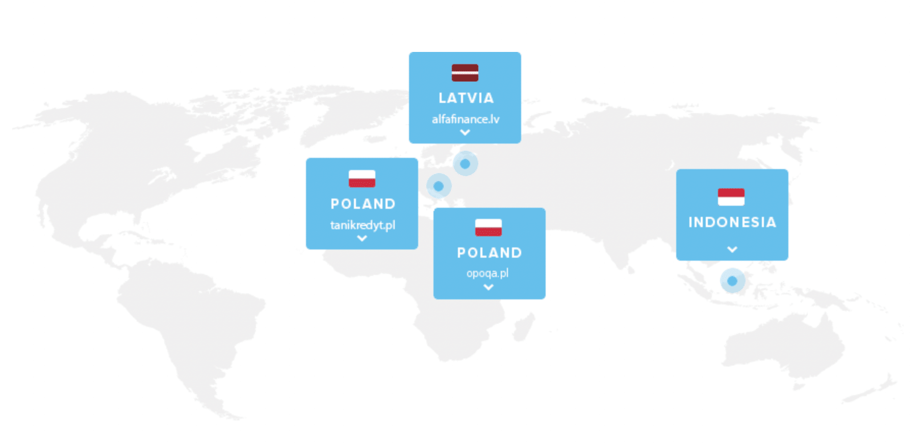 Image of the world map showing loan originators on DoFinance by country