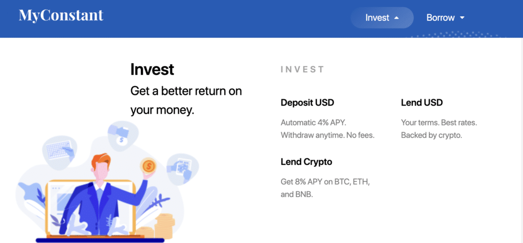 Example of crypto lending investment option MyConstant