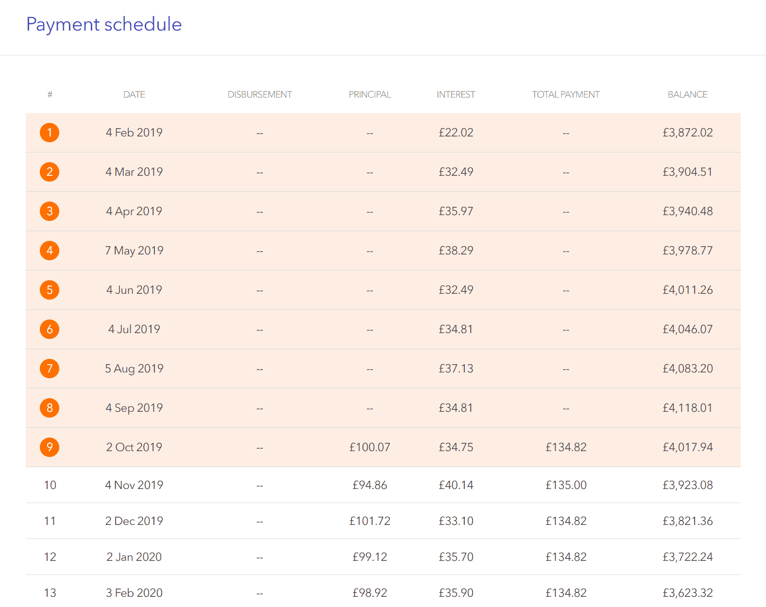 Image of a repayment schedule at Lendwise