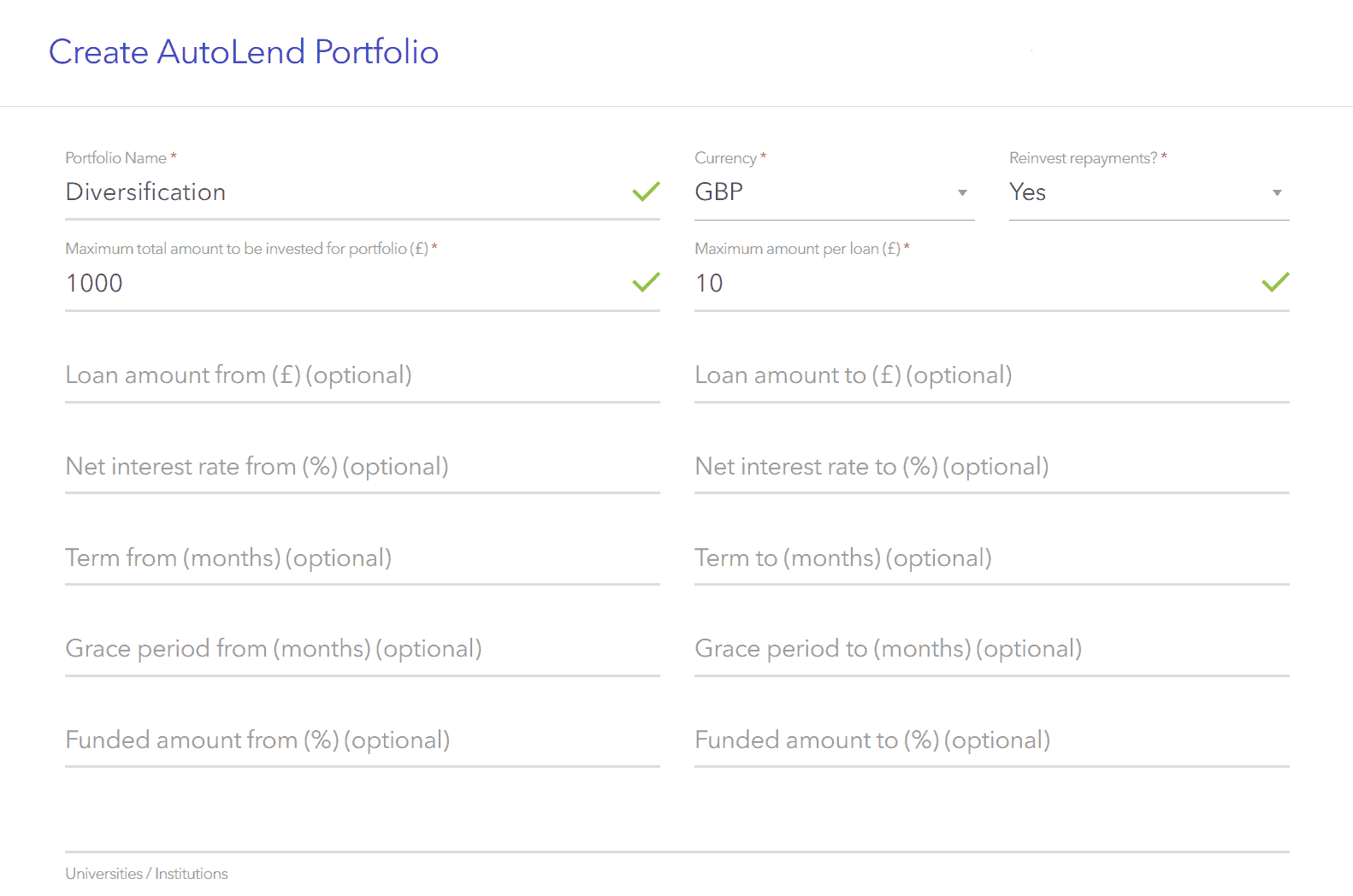 Overview of the Lendwise automatic investment options