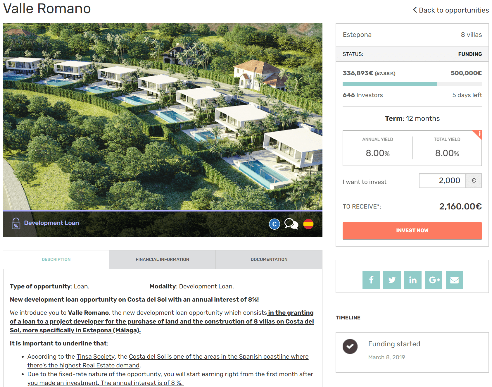 Image of the project description and loan details on Housers