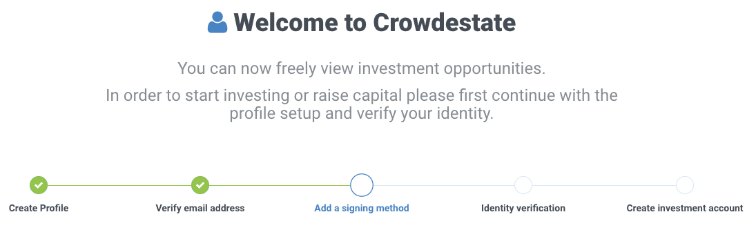 Timeline of the Crowdestate registration process