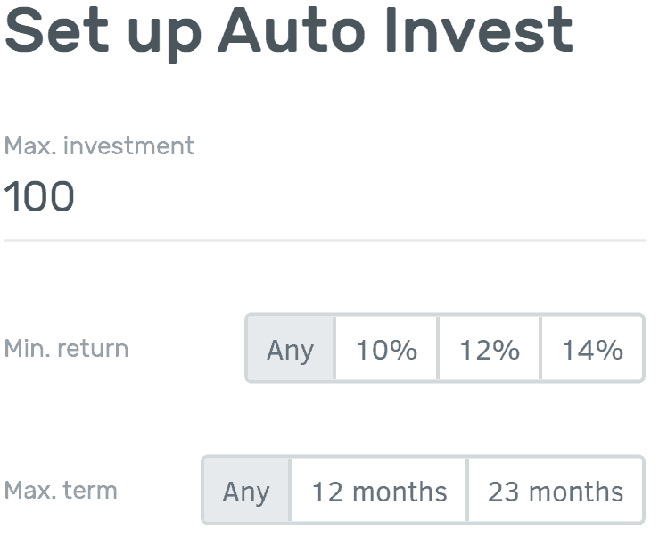 Overview of the automatic investing option at Bulkestate