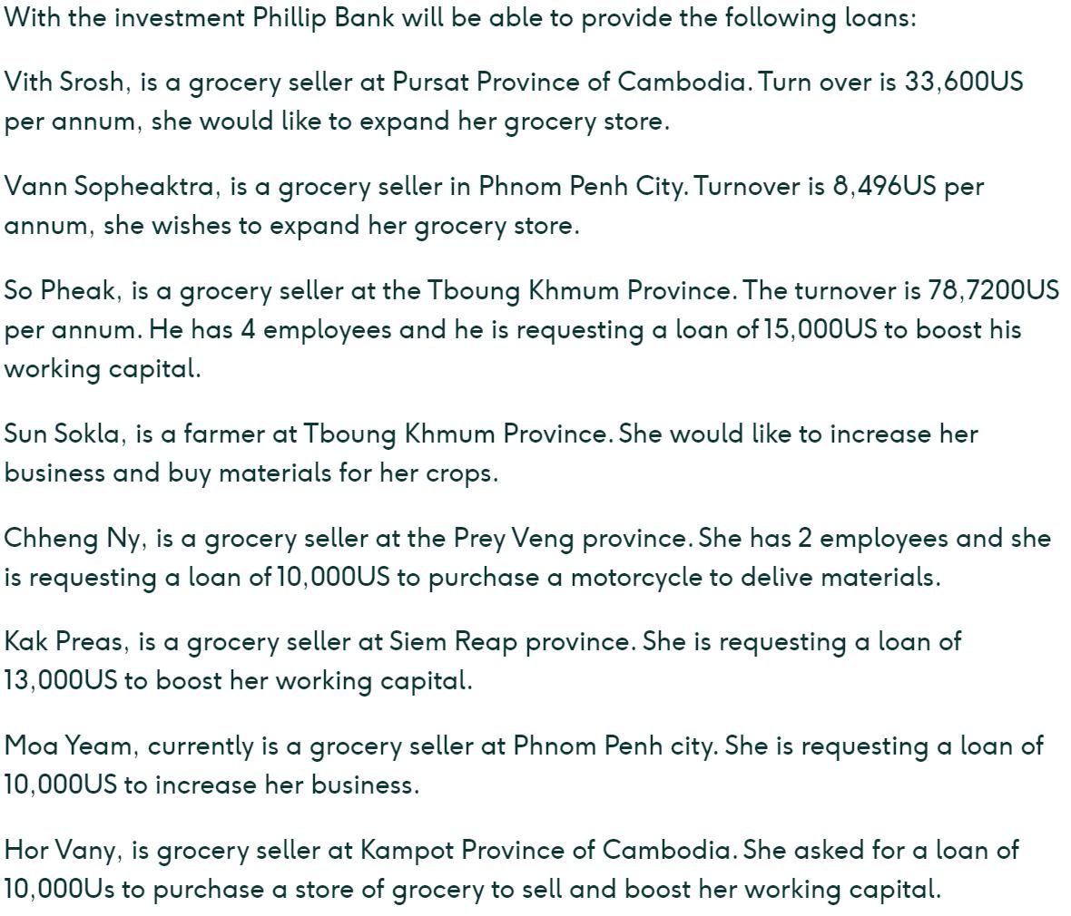 Example of the investor description on Lendahand