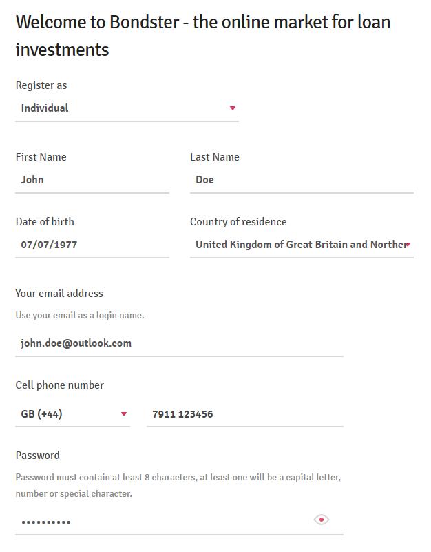 Image of the registration information at Bondster
