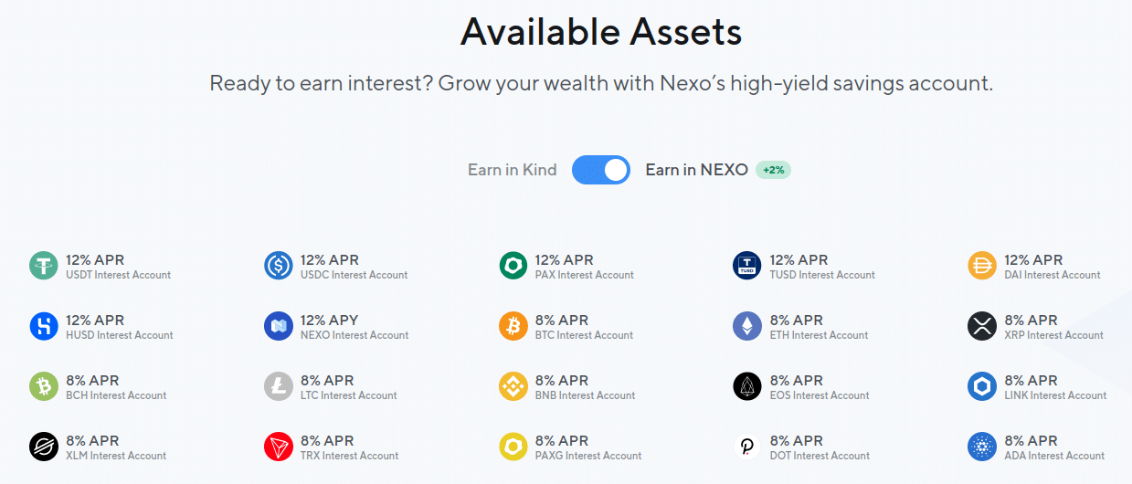 Available crypto assets on Nexo for crypto lending and borrowing