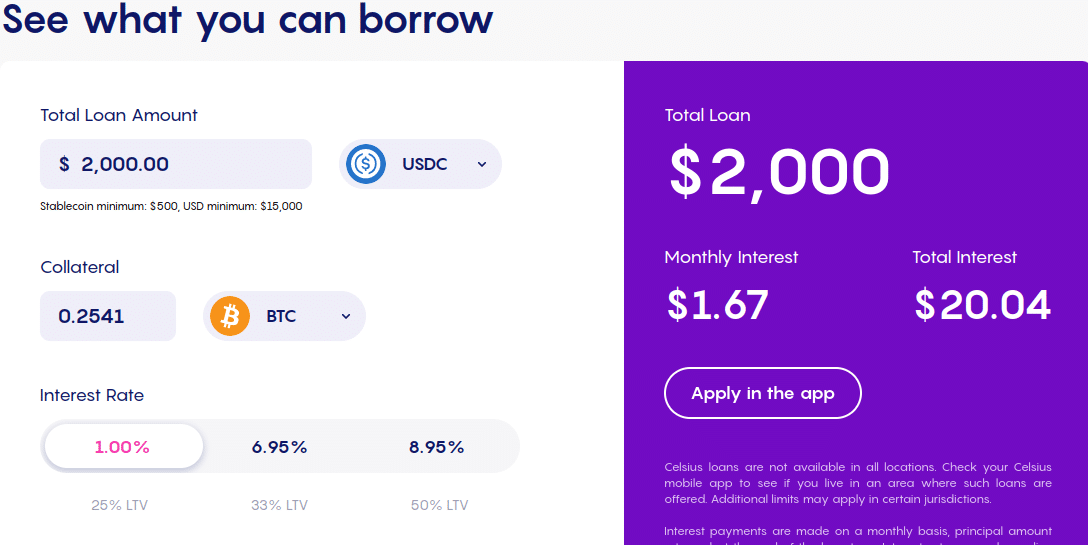 Details of borrowing with Celsius